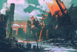disaster city, apocalyptic scenery, illustration digital painting